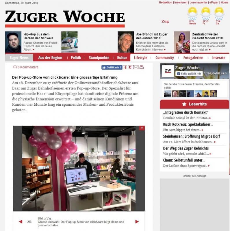 Pop-up Store click&care schliesst die Pforten in Zug