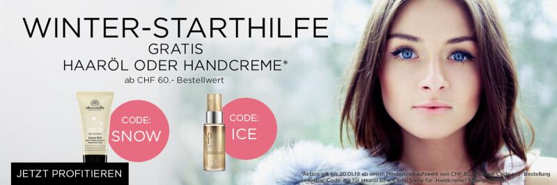 Winterstarthilfe gratis Handcreme oder Haaröl