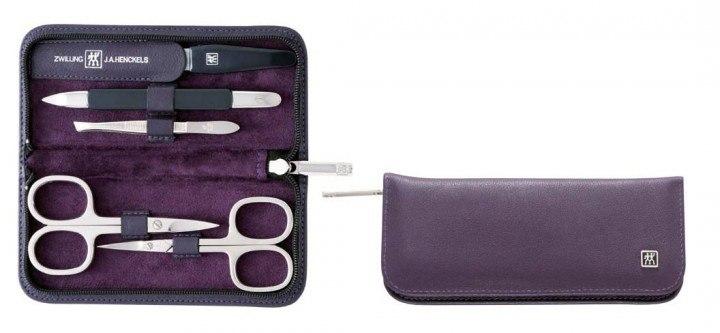 zwilling manicure set in ziegenleder lila 5tlg click care. Black Bedroom Furniture Sets. Home Design Ideas